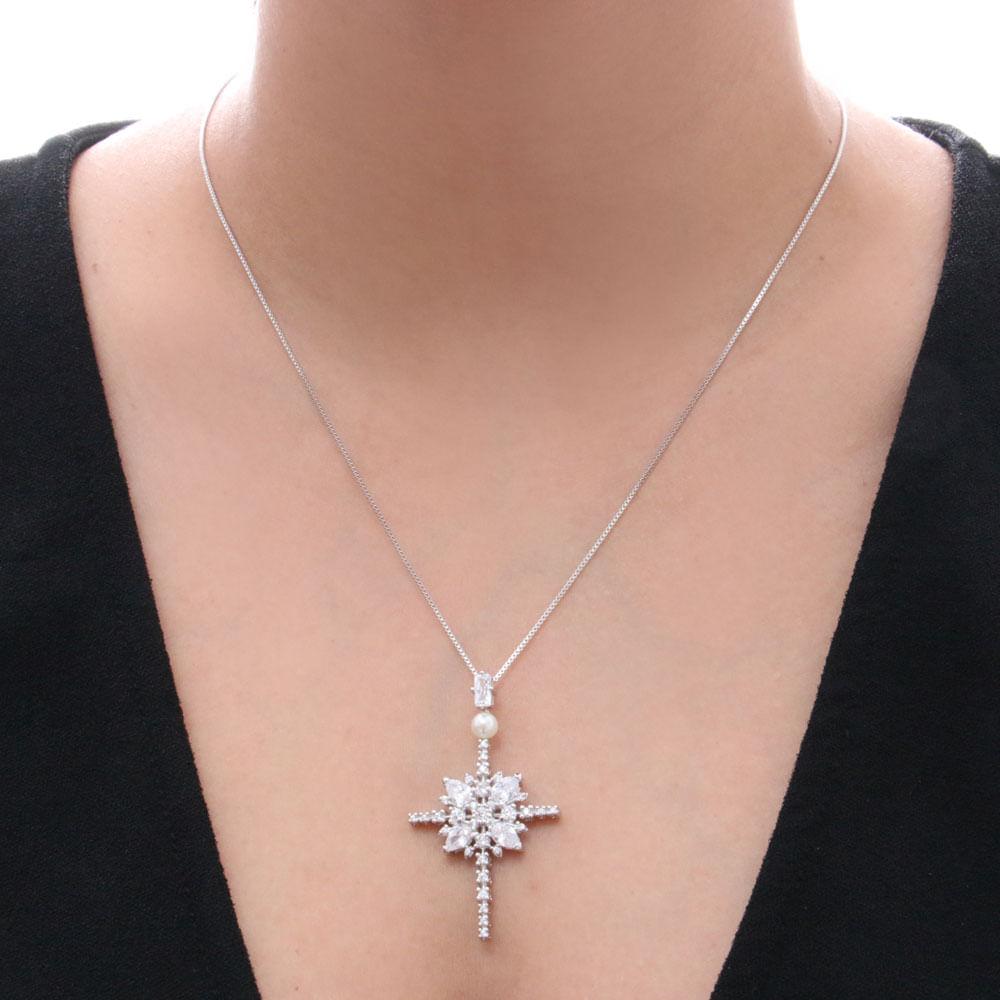 e83d4de9c6f56 Pingente sabrina joias cruz com zirconia e detalhe em perola - reidasjoias