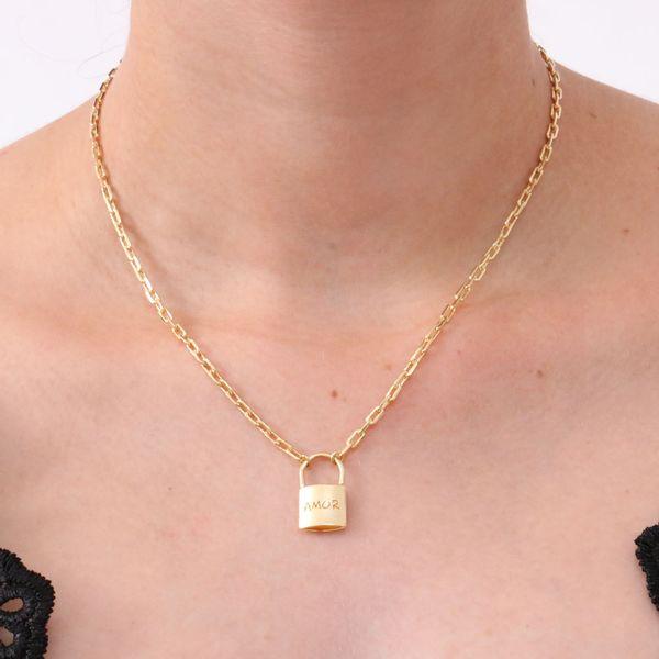 1ede26b81c6 Colar semi jóia elo cartier com cadeado - reidasjoias